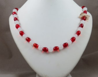 Vintage Mardi Gras Glass Bead Necklace Red and White with Tag