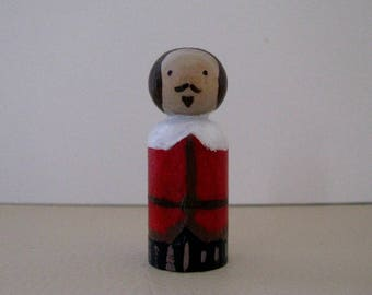 William Shakespeare medium Peg Doll - writer, playwright, books, literature, nerd, plays, sonnets, film, wood, toy, collect, fandom
