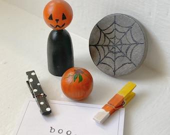 Wooden Halloween Set - jack o lantern, pumpkin, waldorf, montessori, wood, natural toy, gift