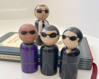 Matrix Peg Doll Set -  the matrix, neo, trinity, morpheus, mr smith, sci-fi, pop culture,  wood, toy, collect, fandom, geek, nerd film movie