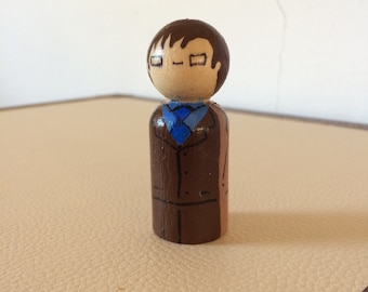 The 10th Doctor Peg Doll - doctor who, time lord, pop culture, whoniverse, sci fi, television, tv, series, wood, toy, collect, fandom