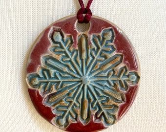 Handmade Snowflake Ceramic Necklace / Pendant / Ornament - Handmade, One of a Kind – Porcelain Clay