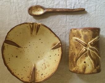 DINNEWARE SET - Bowl, Spoon, Mug - Tumbler - Vase - Rustic Hand Built Hi Fire Stoneware