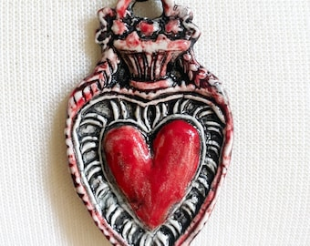 Handmade Heart Vintage Style Necklace / Pendant / Ornament - Handmade, One of a Kind – Porcelain Clay / Valentine Gift