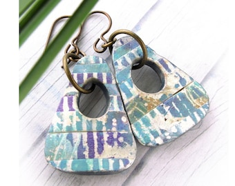 Polymer Clay Earring Jewelry featuring Abstract Lines Design in Blue, Purple, Gold and White