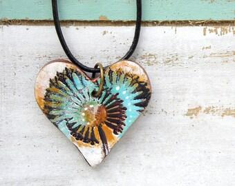 Polymer Clay Heart Pendant Jewelry featuring an Wildflower Grunge Boho Design in Aqua, Orange, Black and White