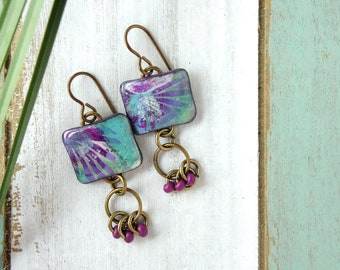 Polymer Clay Earrings Jewelry featuring an Abstract Palm Design in Plum, Turquoise and White