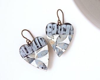 Lightweight Dangle Heart Earrings • Denim Blue