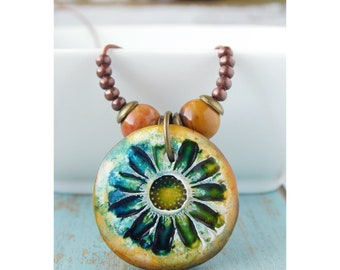 Polymer Clay Jewelry featuring a Flower Blossom Grunge Beach Boho Design in Green, Teal and Yellow