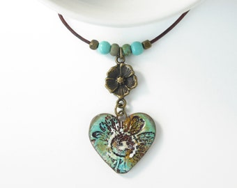 Flower Heart Necklace • Teal Brown White