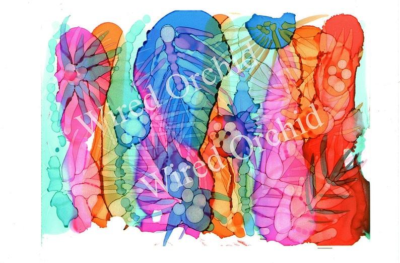 Tropical Bouquet Laser Copy of Original Alcohol Ink Artwork / image 0