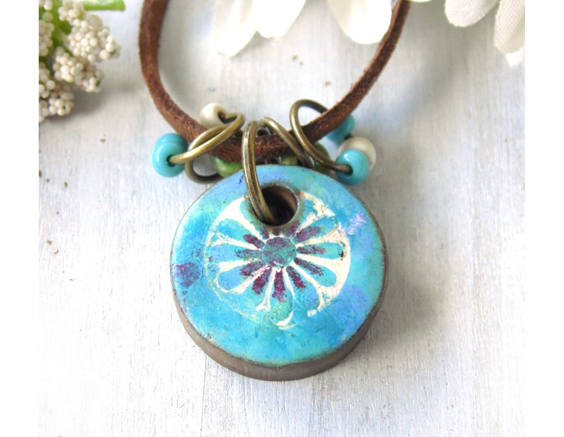 Polymer Clay Mini Pendant Beach Tile Necklace Painted Flower image 0