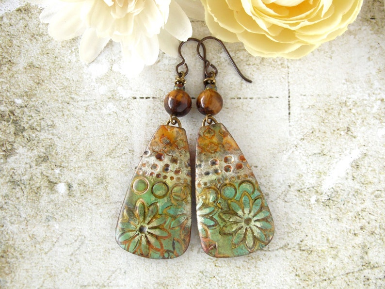 Polymer Clay Earrings Floral Grunge Design in Lime Green image 0