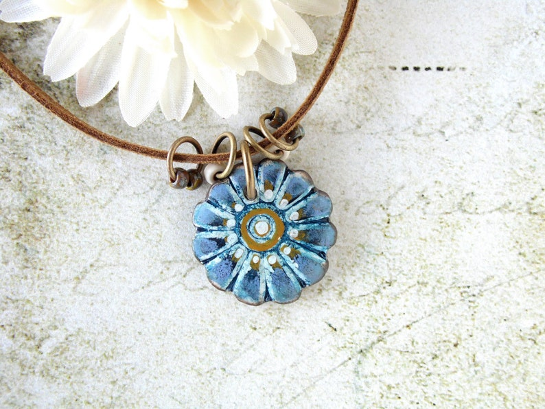 Polymer Clay Pendant Necklace Painted Daisy Grunge Boho Design image 0