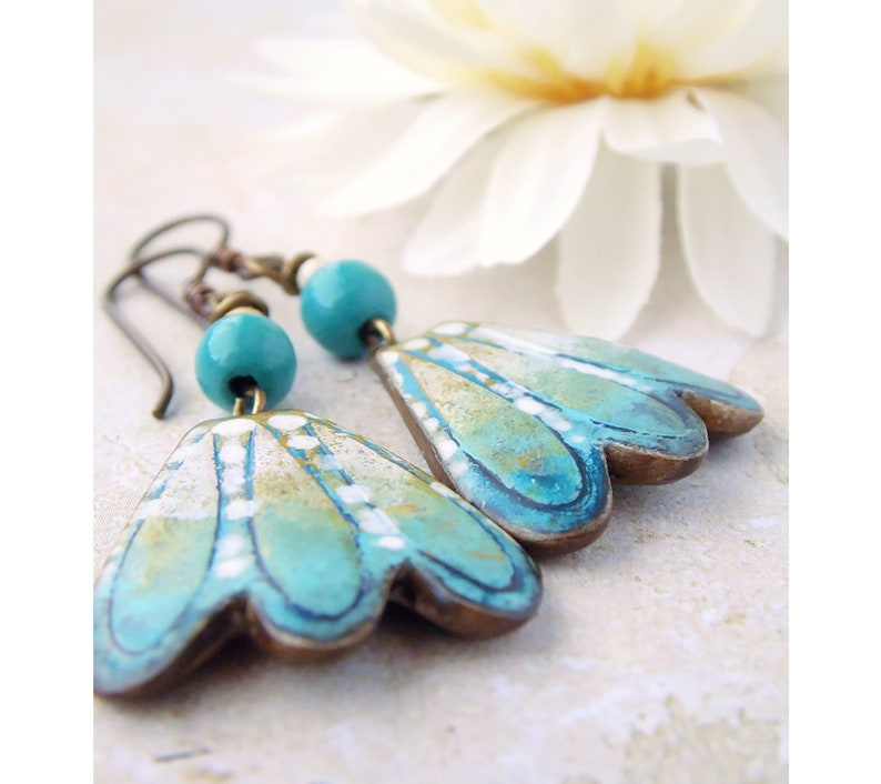Polymer Clay Statement Earrings featuring Flower Petal Design image 0