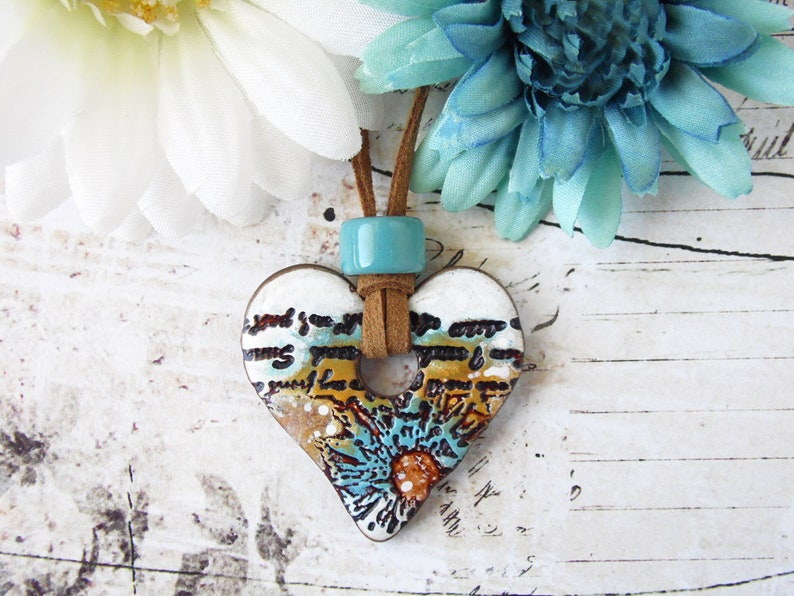Polymer Clay Heart Pendant Necklace Floral Script Design in image 0