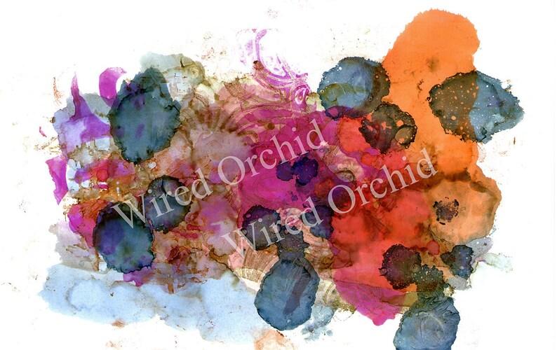Laser Copy of Original Alcohol Ink Artwork / Denim Blue image 0
