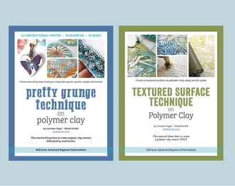 Polymer Clay Tutorial How To • Step by Step Pretty Grunge Technique and Textured Surface Technique BUNDLE by Wired Orchid • Digital Download