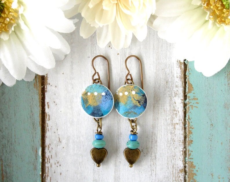 Round Polymer Clay Earrings Painted Abstract Dot Design in image 0