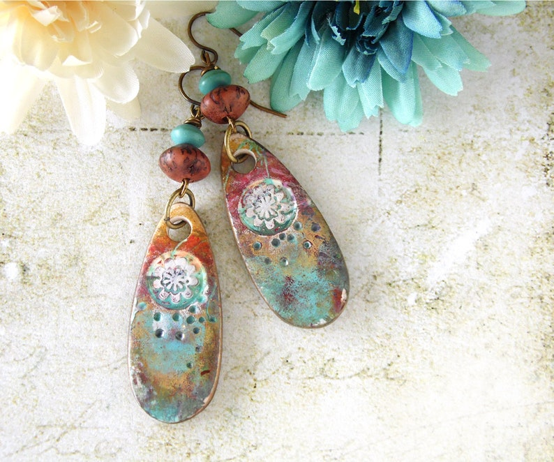 Polymer Clay Earrings Faux Stone Floral Design in Turquoise image 0