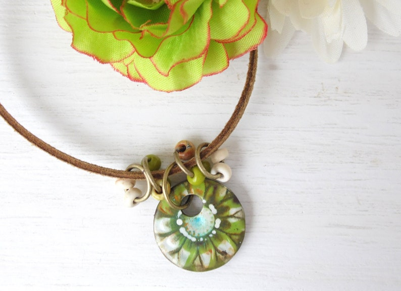 Polymer Clay Mini Pendant Beach Tile Necklace Flower Design in image 0