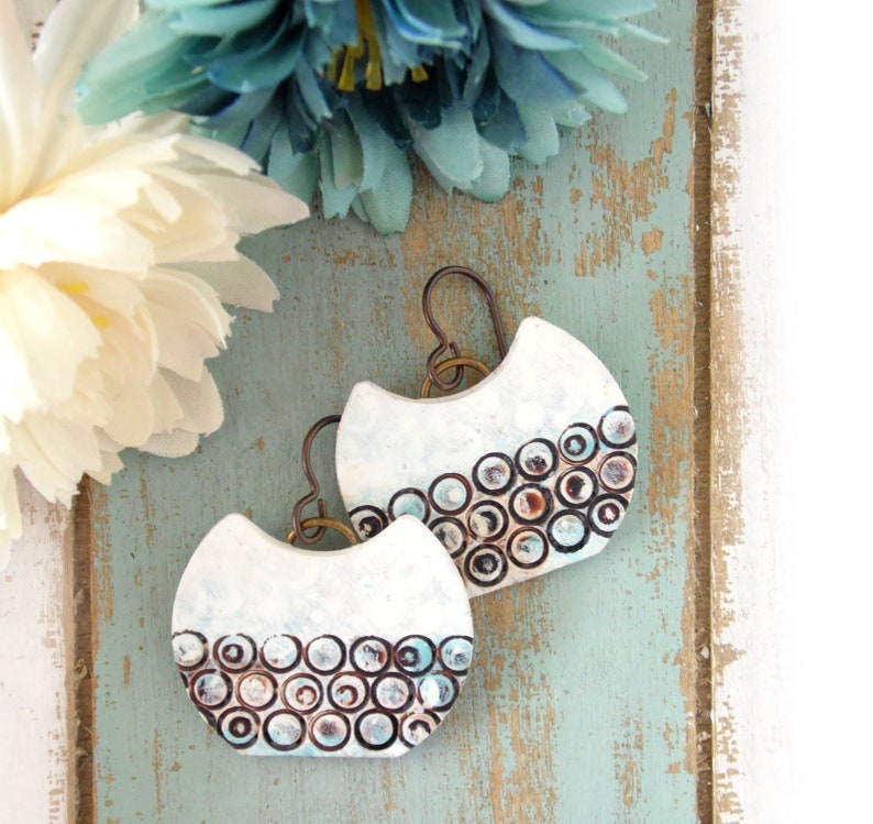 Polymer Clay Earrings Grunge Circle Design in White Brown image 0