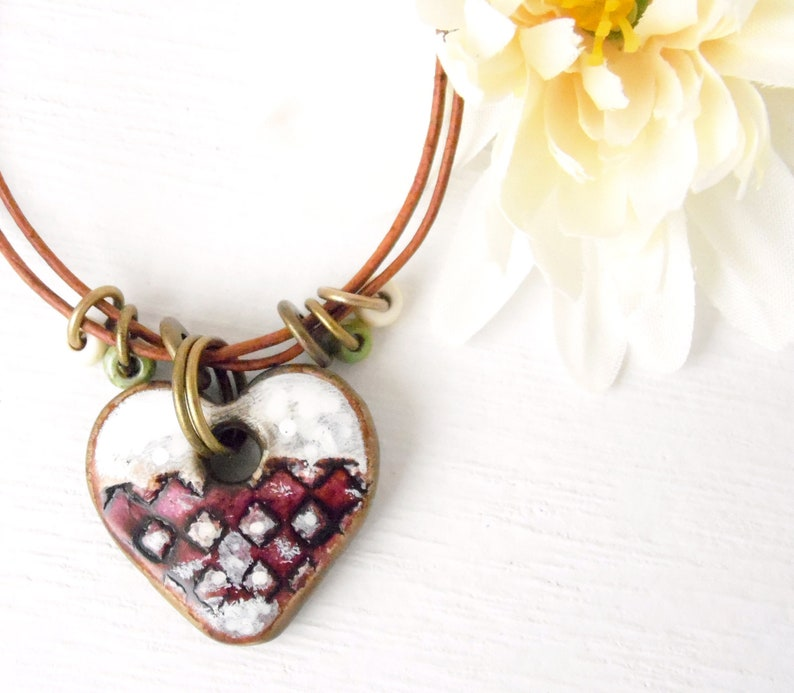Polymer Clay Mini Heart Pendant Necklace Painted Grunge image 0