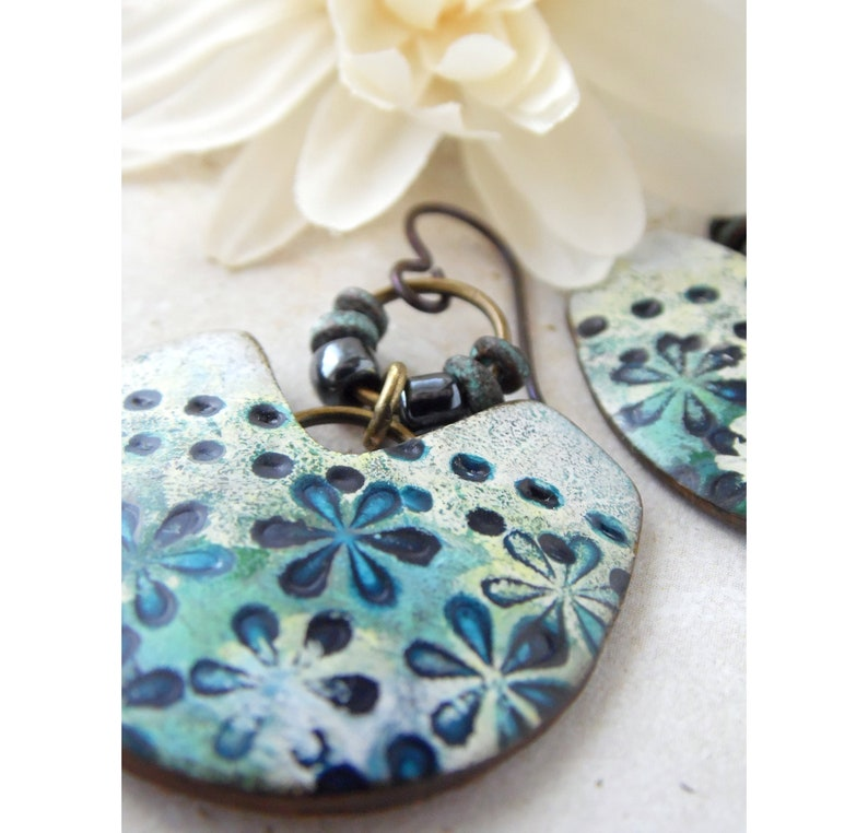 Polymer Clay Statement Floral Earrings featuring Tropical Tiny image 0