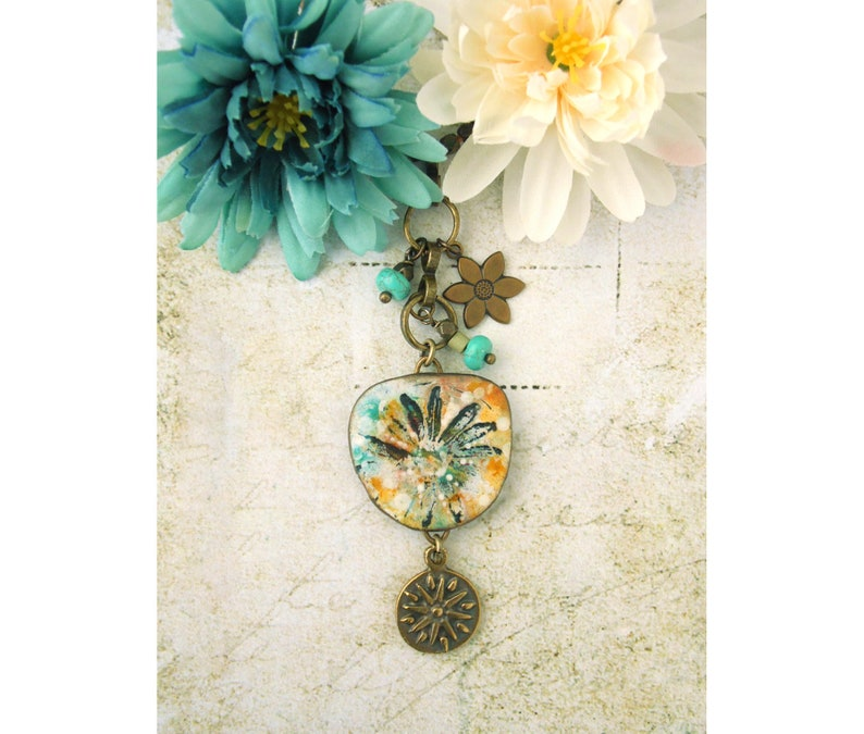 Polymer Clay Pendant Necklace Painted Wildflower Grunge Boho image 0