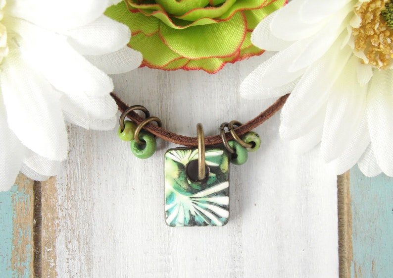 Polymer Clay Mini Pendant Beach Tile Necklace Palm Design in image 0