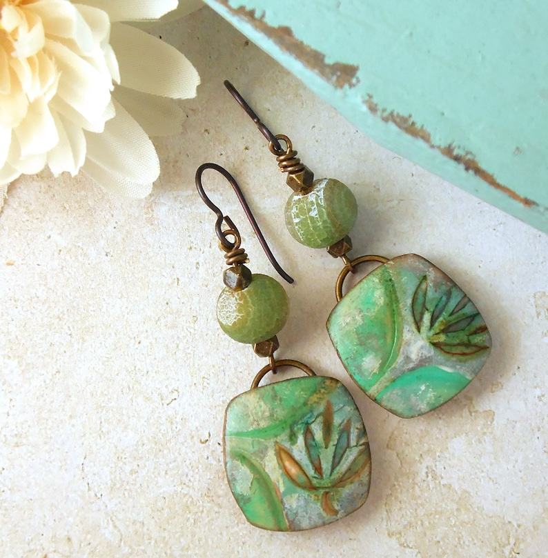 Polymer Clay Funky Earrings featuring Hand Painted Leaf Design image 0