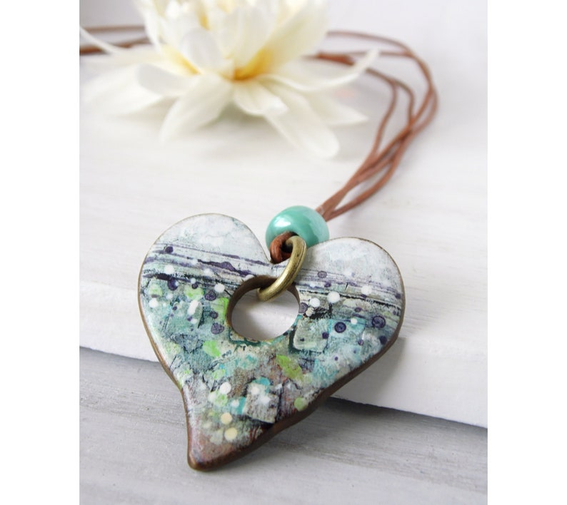 Polymer Clay Heart Pendant Necklace Painted Abstract Geometric image 0