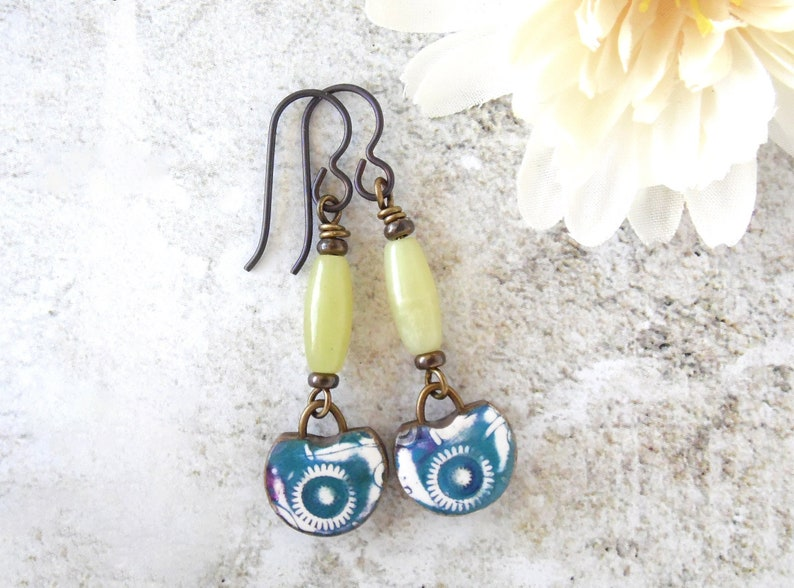 Polymer Clay Earrings Tropical Abstract Starburst Design image 0