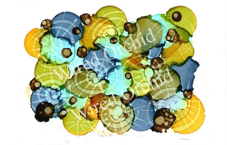 Lime Wheels Laser Copy of Original Alcohol Ink Artwork / Lime image 0