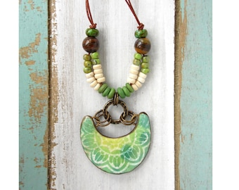 Polymer Clay Jewelry Necklace featuring a Batik Focal Pendant Design in Lime Green, Blue and White