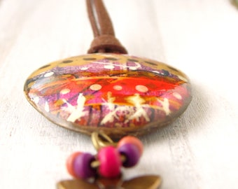 Polymer Clay Jewelry featuring a Tapestry Grunge Beach Boho Design in Red, Purple, Gold, Brown and White