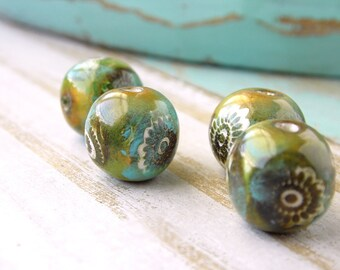Polymer Clay Beads featuring a Flower Blossom Design in Green, Gold, Gray and White