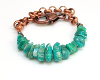 Teal Stone and Chain Bracelet, Copper & Raw Stone Amazonite WillOaks Studio Original, Adjusts from Small to Large, Stacked Stones Series