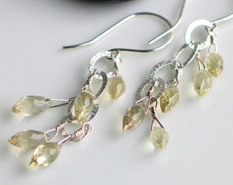 Lemon Quartz and Sterling Dangle Earrings, Faceted Gemstone Earrings, Fresh and Original Artisan Design