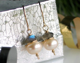 Pearl Labradorite Gold Earrings, Freshwater Pearl Earrings in Gold Filled, Classic Earrings, Designer Jewelry, WillOaks Studio Designs
