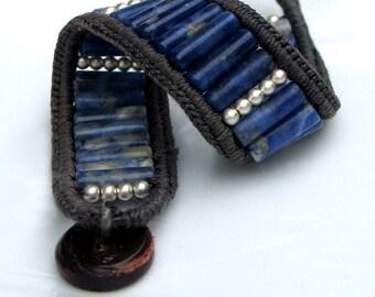 Deep Blue Sodalite Stone and Silver Cuff, Crocheted Gray Silk Edge