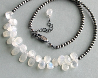 For Maria - Moonstone and Silver Necklace Special Sterling Beaded Chain, White Beaded Necklace, Gift for Her, June