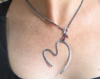 Sterling Silver Forged Pendant, Open Heart Pendant VIII, All Sterling Artisan Original, Handmade Sterling Beaded Chain