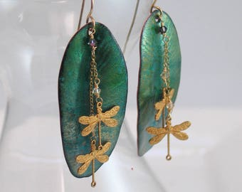 Emerald Green Long Statement Earrings, Nature Dangles, Dragonflies On Leaves, Copper Enamel, Art Jewelry, Leaf Drop Artisan Earrings