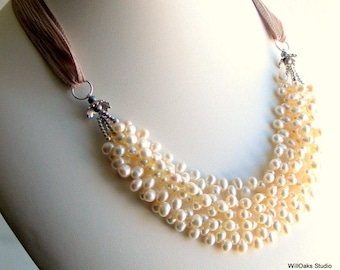 Ivory White Pearl Bib Thick Cluster on Artisan Silk Ribbon, White Pearl Necklace, Pearls and Silk, Wedding Necklace, Deluxe Gift For Her