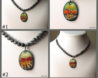 Enameled Copper Art Pendant on Beaded Labradorite Necklace, Warm Bright Nature Colors, Abstract Painterly Art Jewelry, Vitreous Enamel