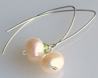 White Pearls and Peridot Silver Dangle Earrings, Wedding White and Green Earrings, Long Sterling Ear Wires with Pearls