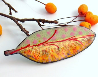 Yellow Copper Enameled Big Art Pin, Colorful Brooch, Original Leaf Jewelry, One of a Kind Vitreous Enamel Lapel Pin, WillOaks Studio