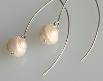 White Pearl Buds Dangle Earrings, Freshwater Pearls with Sterling Silver Ear Wires and Cap, Long Pierced Earrings