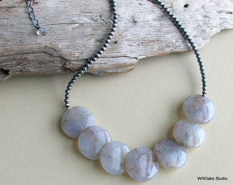Beautiful Bold Beaded Bib Necklace, Unique Quartz Lentil Beads and a Special Sterling Silver Beaded Chain, WillOaksStudio Original Necklace